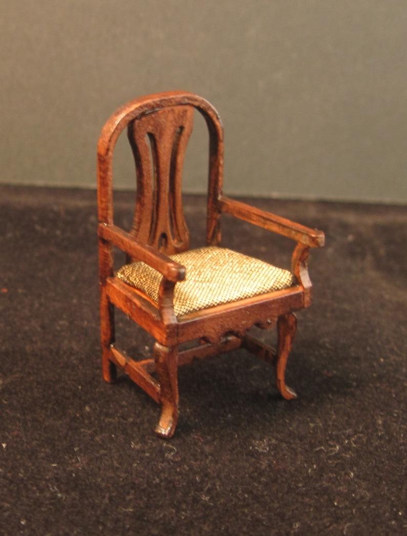 half scale,1:24 Dollshouse miniature chair  with arms.