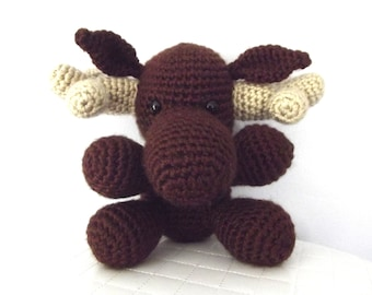 Crochet Moose Pattern Crochet Pattern Woodland Moose Toy Stuffed Animal Crochet Amigurumi Moose Whimsical Childrens Toy Instant Download