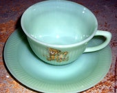 Vintage Tea Cup Saucer, Fire King, Jadeite, Lamb, Green, Teacup