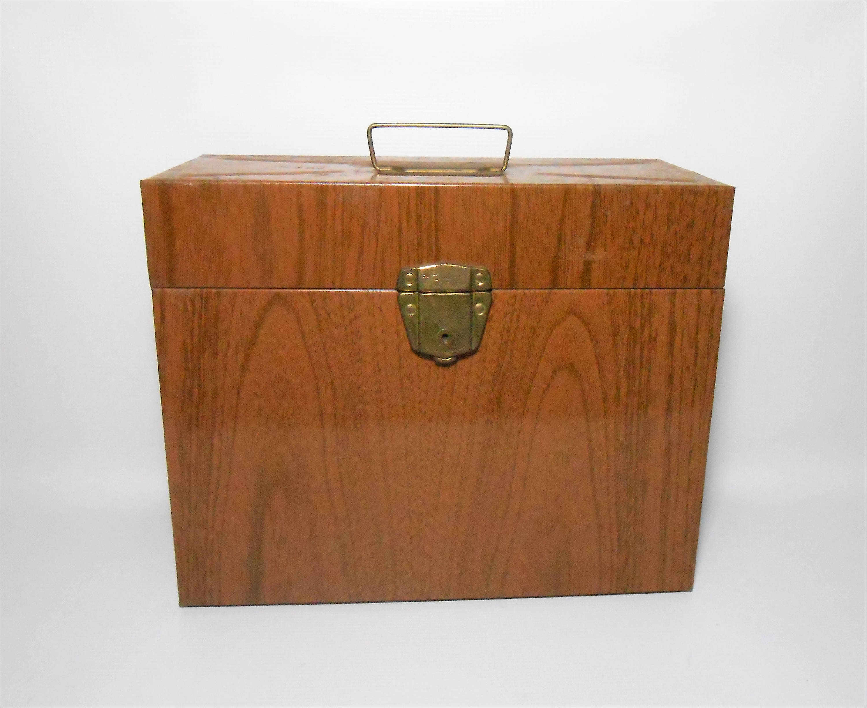 vintage file box porta file faux wood grain ballonoff tin. Black Bedroom Furniture Sets. Home Design Ideas
