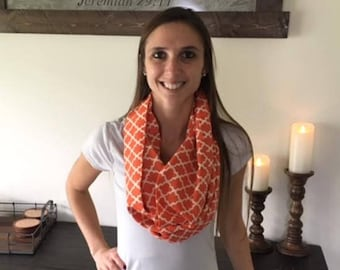 Orange and White Geometric Infinity Scarf
