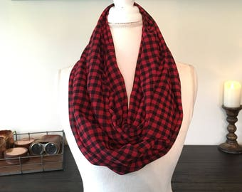 Black and Red Plaid Infinity Scarf