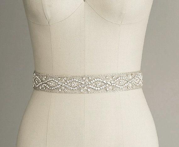 6e2db824b8f6 CATHERINE Crystal Bridal Belt Sash Rhinestone wedding gown   Etsy