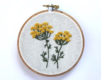 """Tansy, embroidery hoop, hand embroidered, botanical wall art, home decor, 4"""" hoop, white linen"""