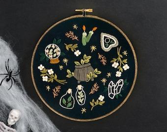 "Garden Witch Embroidery Pattern. Beginner Embroidery pattern. Digital Download. 7"" embroidery hoop. Gothic decor. Halloween Embroidery"