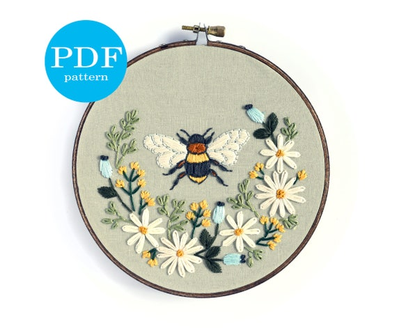 Floral Bee Embroidery Pattern Beginner Embroidery Pattern Etsy