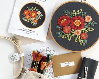 Folky Florals hand embroidery Kit, DIY embroidery, DIY craft kit, embroidery kit, wall art, floral embroidery pattern, beginner embroidery