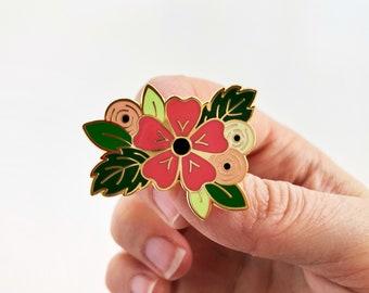 Floral enamel pin, Enamel pin, lapel pin, flower pin, floral clothing accessory
