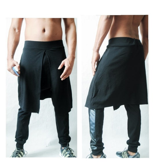Mens Jogger With kilt Overlay With Faux Leather Side Inset ZvRvag