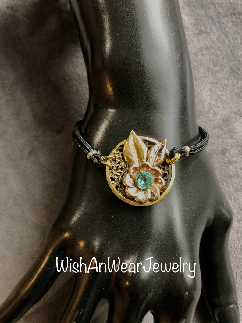 Sweet Restyled Retro Style Bracelet-Repurposed Jewelry-Vintage Handmade Assemblage-Rose /& Yellow Gold Floral Design-Blue Topaz Glass Stone