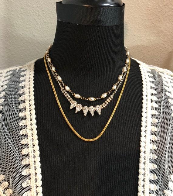 mid-century multi layered necklace