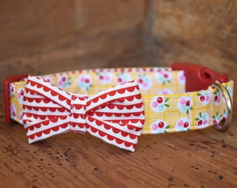 Bow Dog Collar - Yellow Floral with Red Scallop Bow