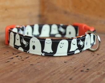 Halloween Dog Collar - Glow-in-the-Dark Ghost Print