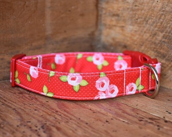 Valentine's Day Dog Collar - Red with Pink Flowers