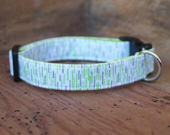 Dog Collar - Lime Green/Grey Print