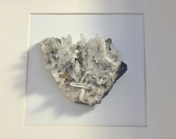 Framed White Crystal--Geode Art--Geode Wall Art