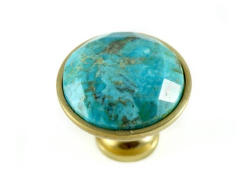 Turquoise Knob - Faceted Stone Knob - Genuine Turquoise