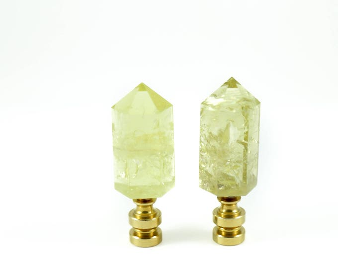 Citrine Decorative Yellow Crystal Point Lamp Finials