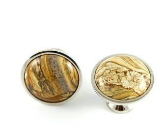 Neutral Stone Knob - Cream Knob - Brown Knob - Neutral Drawer Knob - Untraveled Lands