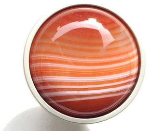 Red Agate Stone Knob - Saturn Sunset - Red Drawer Pull