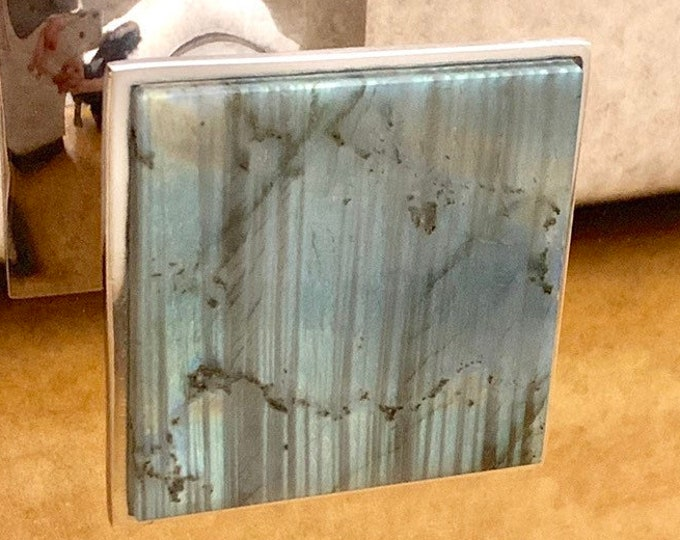 Square Knobs - Labradorite - Home Decor - Geometric Knob -Drawer Knob