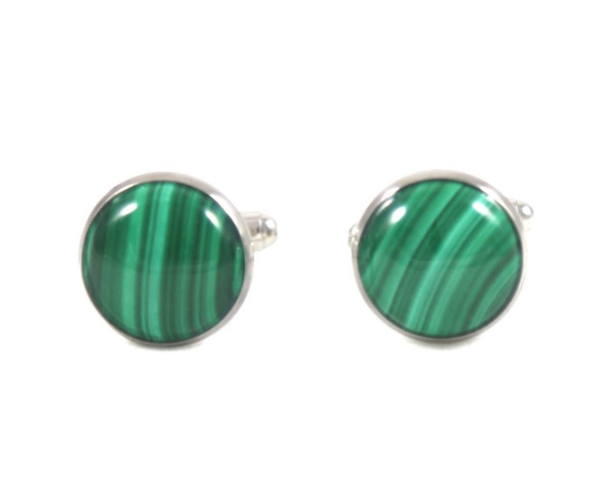 Power and Transformation--Malachite Cufflinks