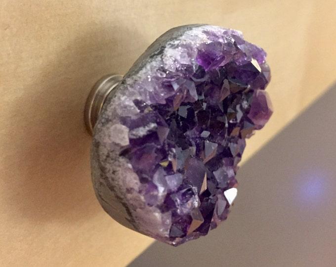 Large Amethyst Geode Knob - Large Purple Crystal Pull