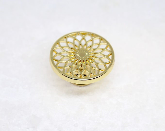 Lotus Flower Gold Dresser Knobs--Sacred Geometry Art Decor--Spiritual Home Decorating Meditation Room Ideas
