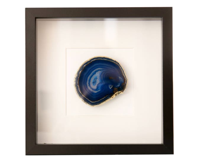 Framed Blue Agate Gold or Silver Edges Apartment Bedroom Wall Art