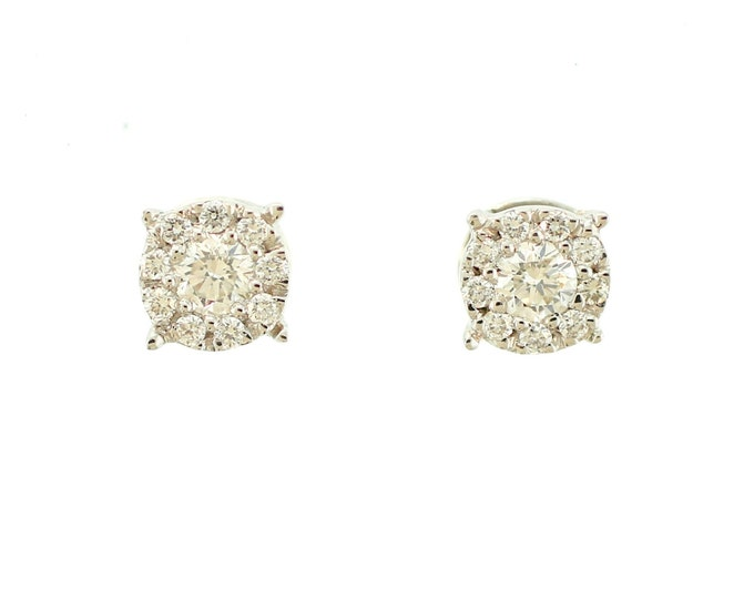 Diamond Cluster Stud Earrings - Solid 14kt White Gold - Diamond Earrings - Wedding Earrings