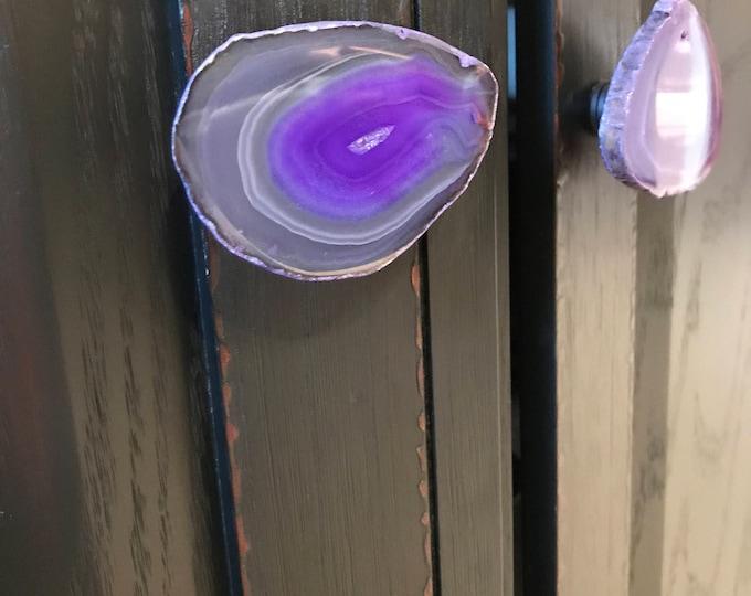 Agate Knob--Purple Agate Handle--Purple Agate Knob--Agate Hardware