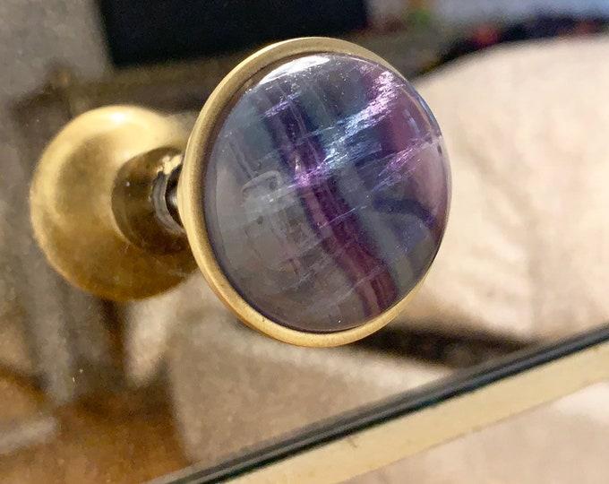 Rainbow Fluorite Knob - Tie Dye - Cabinet Hardware - Chrome - Satin Nickel - Satin Brass