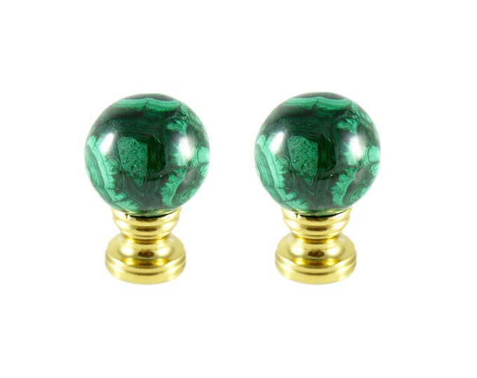Malachite Lamp Finial Pair