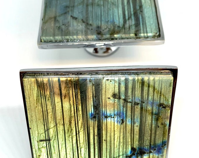 Square Knobs - Labradorite - Home Decor - Large Square Knob - Geometric Knob -Drawer Knob