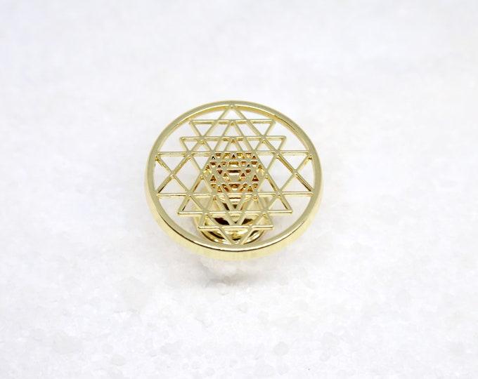Sri Yantra Knob--Yoga Studio Hippie Decor--Fibonacci Golden Ratio--Namaste--Cabinet Knob--Dresser Knob--Furniture Knob Hardware