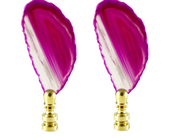 Pink Agate Lamp Finials - Set of Two - Lighting Hardware - Bohemian Bedroom - Hippie Decor