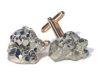 Pyrite Cufflinks - Raw Gold Geode Cuff Links - Pyrite Cuff Links - Gold Cufflinks - Stone Cufflinks - Groom Cufflinks