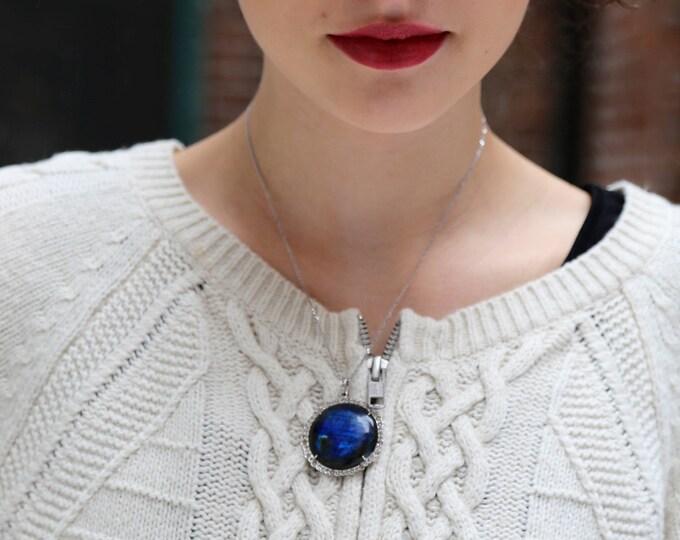 Labradorite Diamond Pendant--Full Moon Pendant--Labradorite Necklace--Diamond Pendant--Flash Labradorite--Pendant--White Gold