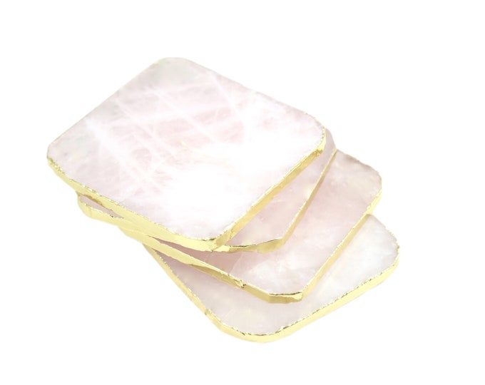 Rose Quartz Coasters with Gold Leaf Edge