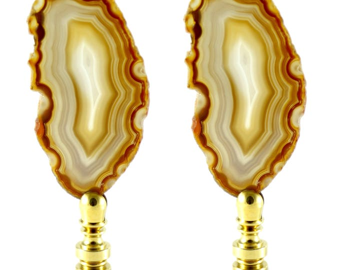 Natural Agate Lamp Finial Set--Natural Finial Set--Office Decor--Entryway Decor