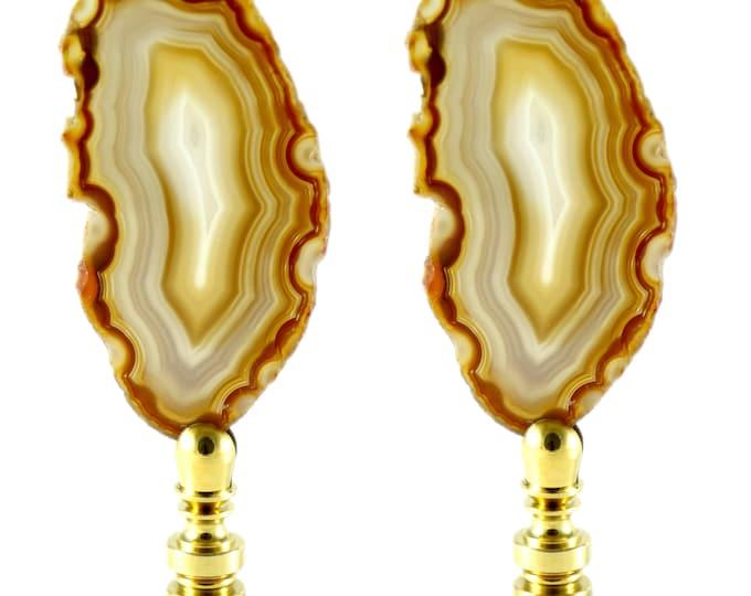 Natural Agate Lamp Finial Set--Natural Finial Set--Office Decor--Entryway Decor