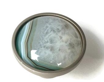 Decorative Cabinet Knob - Waterslide - Green Druzy Stone Knob - Green Druzy Knob