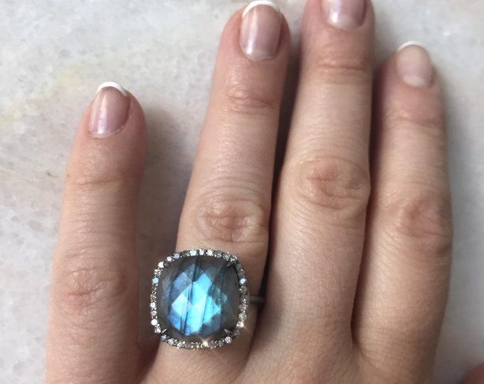 Labradorite Diamond Ring