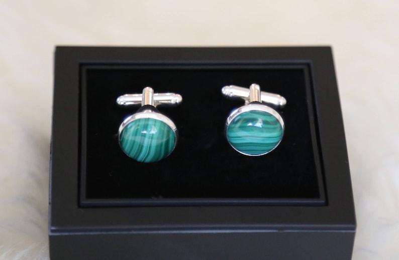 Malachite Cufflinks--Mens Cufflinks--Father of the Bride Sterling Silver Cuff Links Gift