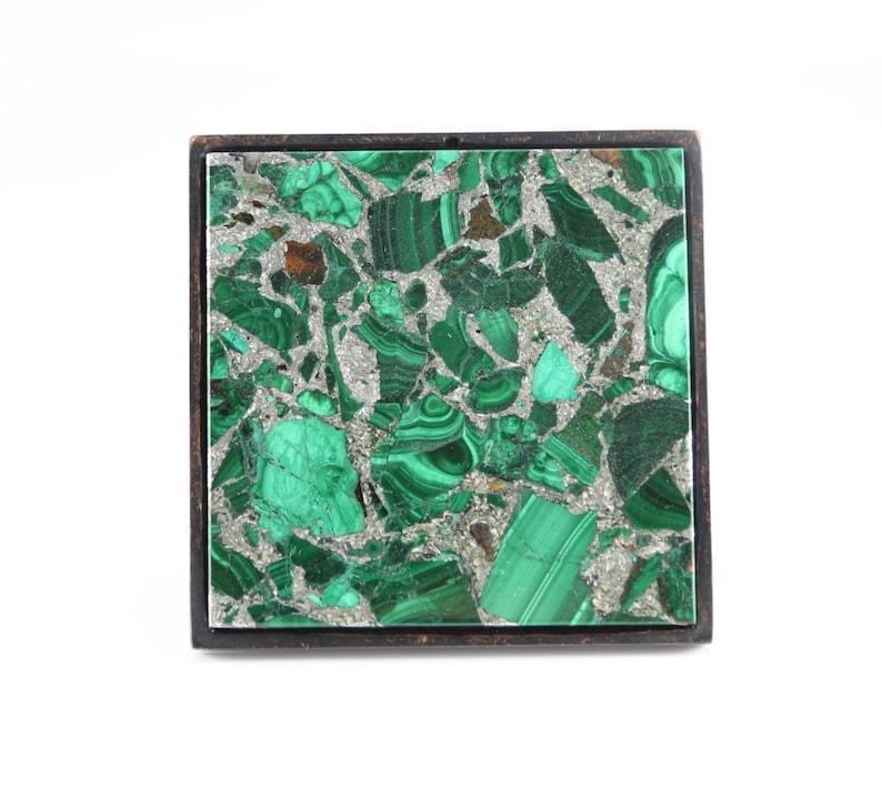 Square Malachite Knob  Large Oversized Knob  Green Malachite image 0