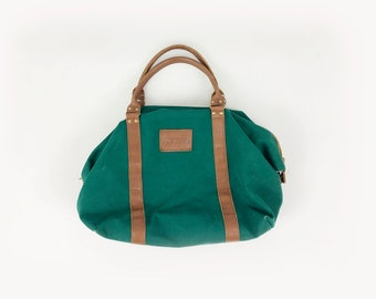 297276cd14 Vintage Green Canvas Weekender Bag - 80s 90s Express Leather Trim Bag -  Large Preppy Luggage Carry On Duffle Rucksack Overnight Bag