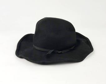905066a536c Vintage Floppy Felt Western Hat - Wide Brim Black Dorfman Pacific Hat w   Ribbon Bow Band - Unisex Boho Cowboy Festival Hat - Size Large