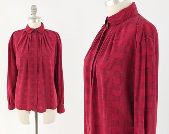 0de1797214593 Vintage Pleated Plaid Silk Blouse - 80s Voluminous Geek Chic Top - Long  Sleeve Peter Pan Collar Button Down Shirt - Size Small to Medium