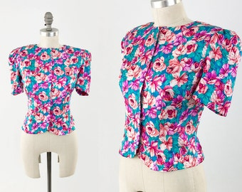 c485640a3cba16 Vintage 90s Floral Silk Top - Tailored Pink and Blue Puff Sleeve Crop Top -  80s Short Sleeve Blouse by Papell Petites - Size Medium 8