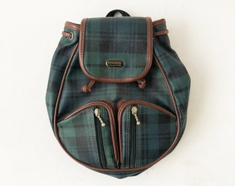 82a5bbf9781 Vintage 90s Plaid Mini Backpack - Small Medium Sized Green Grunge Day Pack  - Vegan Vinyl Drawstring Bucket Purse Bag